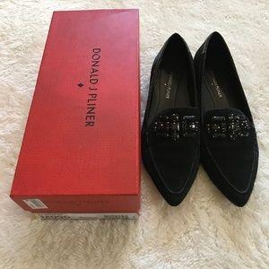 Donald Pliner Jeweled Loafers Black Suede Flats 9